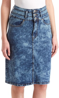 Be Girl be-girl Women's Denim Skirts Blue - Blue Acid Wash Denim Skirt - Women