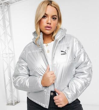 Puma Plus Cropped Metallic Puffer Jacket