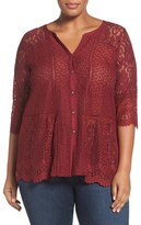 Lucky Brand Mix Lace & Jersey Top (Plus Size)