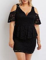 Charlotte Russe Plus Size Lace Cold Shoulder Peplum Dress