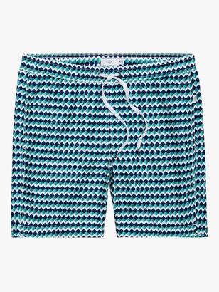 Onia Charles 7 Geo Rhombus Swim Shorts, Blue