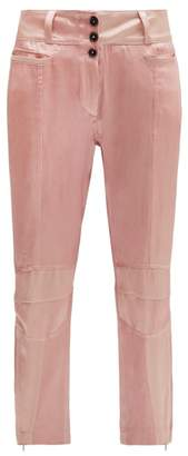 Ann Demeulemeester Yana Zipped Cuff Satin Motorbike Trousers - Womens - Light Pink