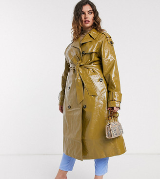 Asos DESIGN Curve vinyl trench coat in khaki-Green