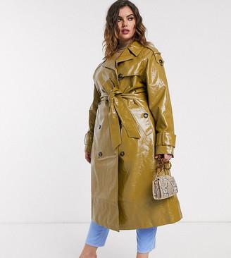 Asos DESIGN Curve vinyl trench coat in khaki