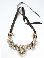 Banana Republic Bugle Bead Embroidery Focal Necklace