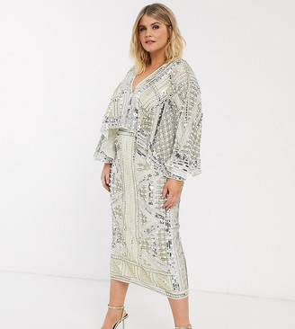 Asos Edition EDITION Curve cape sleeve armour midi dress-White