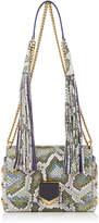 Jimmy Choo LOCKETT PETITE Natural Irisdescent Painted Python Shoulder Bag with Tassel Shoulder Strap