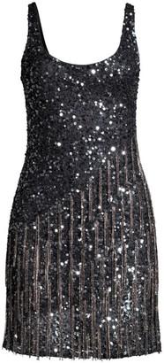 Parker Black Reena Embellished Fringe Sequined Mini Dress