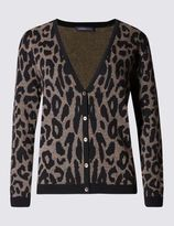 Marks and Spencer Cotton Blend Animal Jacquard Print Cardigan