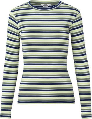 Mads Norgaard Tuba 2x2 Softy Stripe Multi Army Tee - XS (8)   organic cotton   green apple   Navy & White - Green apple