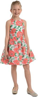 Badgley Mischka Floral Jacquard Dress