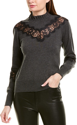 Bailey 44 Lace-Trim Wool-Blend Sweater