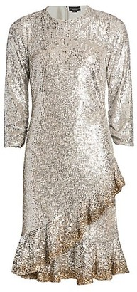 Ahluwalia Sequin Ruffle-Hem Dress