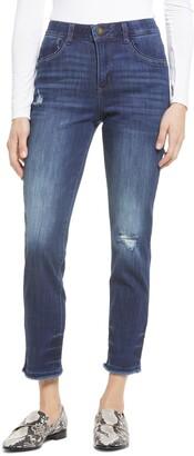 Wit & Wisdom Ab-Solution High Waist Fray Hem Ankle Skinny Jeans