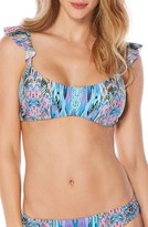 Laundry by Shelli Segal Women's Abstract Feathers Ruffle Bikini Top