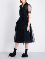 Simone Rocha Teddy-trim tulle midi dress