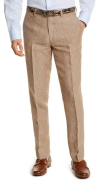 Bar III Men's Slim-Fit Tan Pinstripe Linen Suit Separate Pants, Created for Macy's