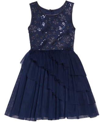 Frais 3D Sequin Embellished Fit & Flare Tulle Dress