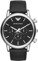 EMPORIO ARMANI Emporio Armani Stainless Steel Black Leather Strap Gents Watch