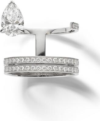 Repossi Serti Sur Vide 2 Row Pear Diamond Ring