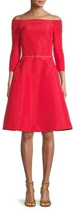 Oscar de la Renta Off-The-Shoulder Silk Dress