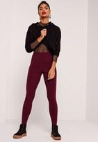 Missguided Ribbed Full Length Leggings Burgundy