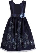 Jayne Copeland Big Girls 7-12 Glitter Mesh Floral-Applique Dress