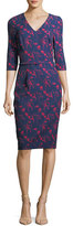 David Meister Floral-Print 3/4 Sleeves Crepe Sheath Day Dress