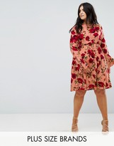 Club L Plus Peach Red Rose Floral Dress With Flute Sleeve