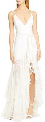 PatBO Mesh Trim Sheer Hem Gown