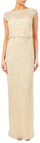 Adrianna Papell Cap Sleeve Beaded Gown, Champagne