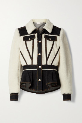 Alexander McQueen Paneled Wool-blend And Denim Jacket - Ivory