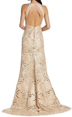 Naeem Khan Resort Ribbon-Embroidered Gown