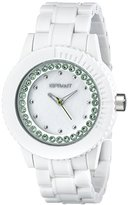 Sprout Women's ST/6504MPGN Green Swarovski Crystal Accented White Corn Resin Bracelet Watch