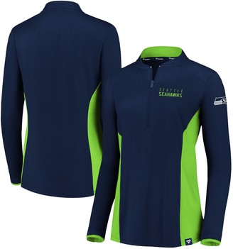 Women's NFL Pro Line by Fanatics Branded College Navy/Neon Green Seattle Seahawks Iconic Marble Clutch Half-Zip Pullover Jacket