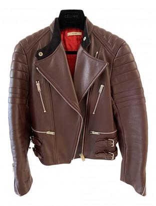 Celine Burgundy Leather Jackets