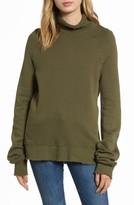 Pam & Gela Women's Distressed Fleece Turtleneck Sweatshirt