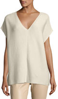 Lafayette 148 New York Short-Sleeve Sequin-Trim V-Neck Sweater