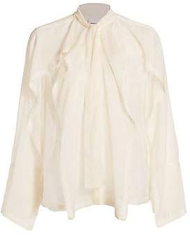 Burberry Women's Alisha Sheer Silk Tieneck Blouse