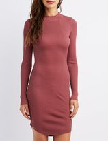 Charlotte Russe Ribbed Mock Neck Bodycon Dress