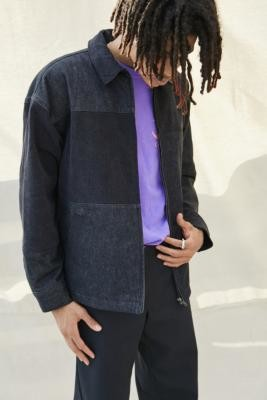 BDG Black Panelled Zip-Through Jacket - Black S at Urban Outfitters