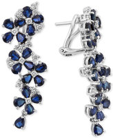 Effy Royal Bleu by Sapphire (9 ct. t.w.) and Diamond (3/4 ct. t.w.) Drop Earrings in 14k White Gold