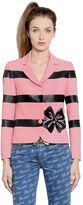 Moschino Stripes & Bow Printed Techno Cady Jacket