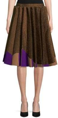DELPOZO Pleated Skirt with Two-Tone Hem