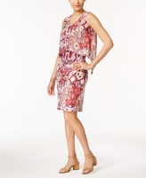 NY Collection Petite Printed Popover Midi Dress