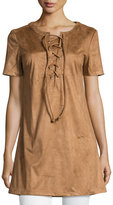 Glamorous Short-Sleeve Lace-Up Faux-Suede Top, Tan