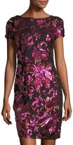 Neiman Marcus Floral-Embellished Shine Dress
