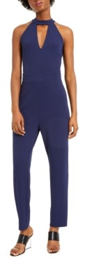 Bar III Keyhole Halter Crepe Jumpsuit, Created for Macy's