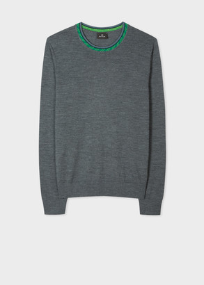Paul Smith Men's Grey Merino Wool-Blend Sweater With Detailed Collar