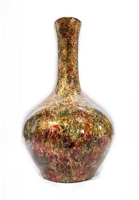 HomeRoots Brown Orange Red Green Ceramic Foil and Lacquer Long Neck Bottle Vase